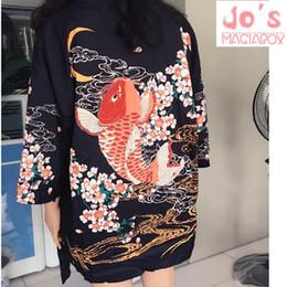 a10853d5c90 2017 Summer Top Fish Japanese Kimono Cardigan Female Blouse Women Shirt Jiu  Jitsu Harajuku Kimono Floral Kawaii Long Plus Size Y190427