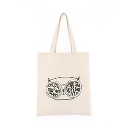Handmade sHopping bags online shopping - 2019 woman shopper bag fashion cat shopping tote bag Handmade Cotton Shopping Travel Women Folding Shoulder