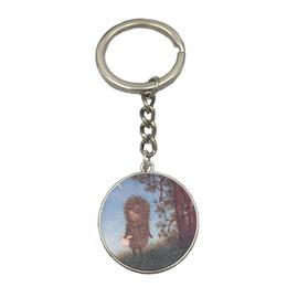 $enCountryForm.capitalKeyWord Australia - Hedgehog In The Fog DIY Silver Chain Keychain Handmade Glass Dome Pendant Key Ring Car Key Chain Best Gift For Friend