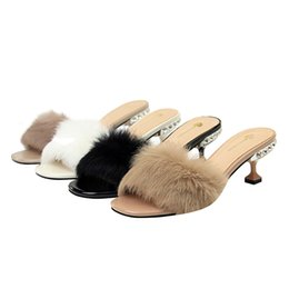 Women Sexy Fur Sandals Lady Open Toe Slipper Stilettos High Heels Crystal  Dress Sandal Rhinestone Party Pumps Fur Slippers be79896830f2