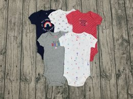 unlined shorts NZ - baby girl short sleeve romper cartoon 2020 summer clothes newborn baby boy rompers 5pcs set onesie clothing 6-24M T200706