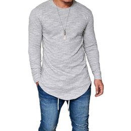 410bfcad New Slim Extend Men T-shirt Sides Casual Long Sleeve Irregular Design Solid  Color T Shirt Fashion Brand Clothing Hip Hop Shirts