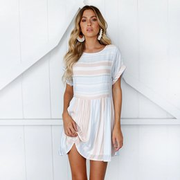 clothing loose draped 2020 - Casual Kimono Sleeve Short Women Dresses Summer Sleeve O Neck Striped Polyester Loose A Line Mini Dress Beach Sundress D