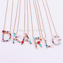 Necklaces Pendants Australia - New Fashion 5pcs Gold Color Crystal Cubic Zirconia Micro Pave And Gems 26 Letter Pendants Charm Necklaces J190531