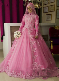 simple muslim wedding dress hijab UK - Pink Islamic Hijab Ball Gown Wedding Dresses 2020 High Neck Long Sleeves Vintage Lace Overskirt Plus Size Kaftan Abayas African Bridal Gowns