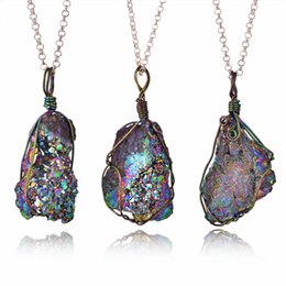 $enCountryForm.capitalKeyWord Australia - Free DHL Fashion Irregular Natural Crystal Colorful Pendant Necklace Cave Wire Necklaces Pendants Sweater Chain Jewelry Gifts M247F Y
