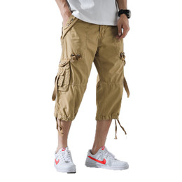 Wholesale cargo shorts men resale online - Men Cargo Pants Mens Casual Calf Length Pants Man Loose Cropped Trousers Multi pocket Beamed Overalls Male Sports Short