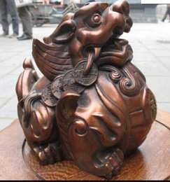 Chinese Carving Dragon Australia - COPPER STATUEL shipping Chinese Folk Red Bronze exquisite Carved Dragon pi xiu Lucky fengshui statue