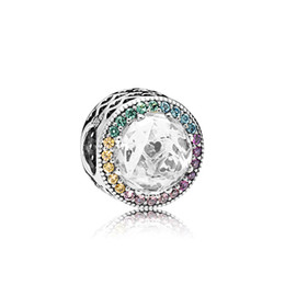 925 Sterling Silver Charms Logo Original box for Pandora Color Crytal Diamond Bracelet Charms European Beads for jewelry making on Sale
