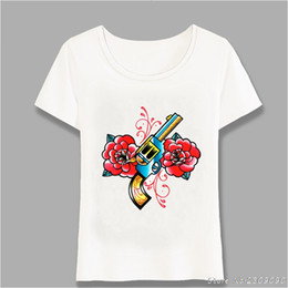 $enCountryForm.capitalKeyWord Australia - 2019 New Fashion Summer Tattoo T-Shirt Cute Women T Shirt Gun And Roses Tattoo Flash Print T-Shirt Girl Power Tops Tees Harajuku