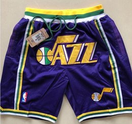 45 pants online shopping - JUST DON Shorts Hip Hop Motion Wind Mitchell Shorts Stripe Network Lining Split Joint Sports Pants Man Purple Basketball Pants