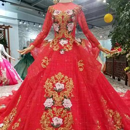 fashion design major 2019 - Vintage Red Evening Party Dresses With Train Long Sleeves Illusion O-Neck Muslim Ball Gown Prom Dress Women 2019 Newest