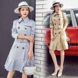 London coat online shopping - High quality new London classic plus size lady coats fashion Double breasted coats With belt Trench Coat for lady