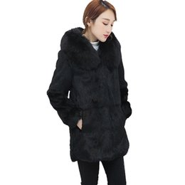 d15595672c1 B Women Winter Faux Fur Coat Covered Button Warm Fox Fur Hooded Collar Slim  Coats Midi-Length Fluffy Outerwear for Ladies