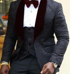 Images Fashionable Suits Australia - New Fashionable One Button Black Groom Tuxedos Shawl Wine Lapel Groomsmen Best Man Suits Mens Wedding Suits (Jacket Pants Vest Tie) 818