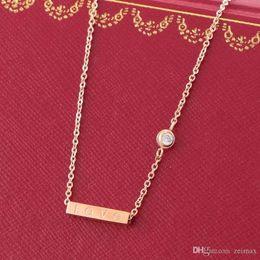 Necklaces Pendants Australia - LOVE Square Pendant with Singel CZ diamond Rose Color Necklace for Women Vintage Collar Costume Jewelry with original box set