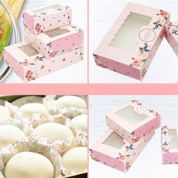 cheap gift boxes wholesale NZ - Cheap Gift Bags & Wrapping Supplies 10PCS 2 4 6 Pack Mini Mooncake Paper Gift Box Transparent Window Candy Cookies Cake Box Wedding Favor