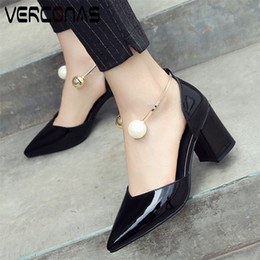 Discount white design sandals VERCONAS Women Summer Pointed Toe Genuine Leather Pearl Design Party Shoes High Heeled Sandals Thick Heel Shoes Woman