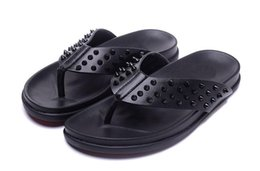 Beach Shoes 47 Australia - Mens Black Leather With Spikes Beach Slippers Causal Shoe Brand Design Red Bottom Sandals Summer Flip Flop Shoes 39-47 Free delivery