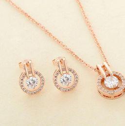 $enCountryForm.capitalKeyWord Australia - New Arrival Women's Zircon Round Pendent Choker Chain Necklace Earrings Wedding Jewelry Set Fashion Leader' Choice