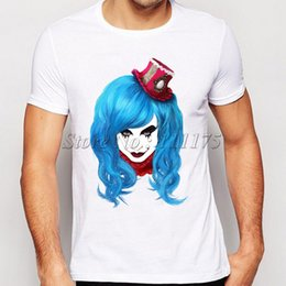 99bc45b34fbfff Jester t shirt Clown hat short sleeve tops Blue hair fadeless tees Unisex  white colorfast clothing Pure color modal Tshirt