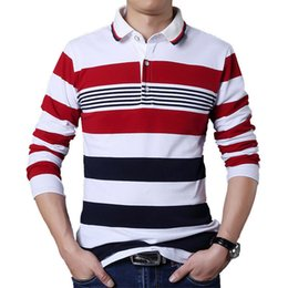 White T Shirt Red Collar Australia - Browon Autumn Casual Men T-shirt White And Red Stripe Pattern Fitness Long Sleeve Turn-down Collar Cotton Tops Stripe Clothes