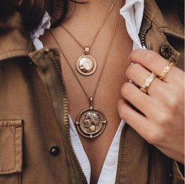 $enCountryForm.capitalKeyWord NZ - pendant necklace bohemian female double-layer necklace retro gold carved coin necklace jewelry new 2019