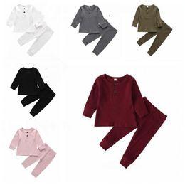 Bébé tricotés Vêtements Pure Color Costume bébé Printemps Automne Hauts Pantalons 2Pieces bonbons couleur Garçon Fille Vêtements Costume WY224Q en Solde