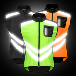 High Visibility Motorcycle Australia - Running Cycling Riding Motorcycles High Visibility Reflective Jacket Safety Cloth MOTO Off-Road Warning Vest Protection Gear Wind Coat