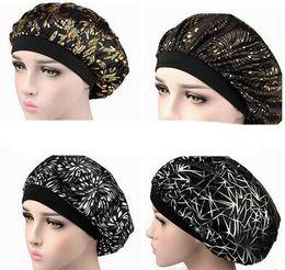 $enCountryForm.capitalKeyWord Australia - Muslim Women Wide Band Stretch Silk Satin Bonnet Hot Floral Print Bandana Sleeping Turban Hat headwrap Bonnets chemo caps Hair Accessories