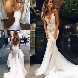 pallas couture wedding dresses NZ - Pallas Couture Amazing Detail Wedding Dresses 2019 Spaghetti Backless Wedding Gowns Vintage 3D Floral Lace Satin Beach Corset Bridal Gowns