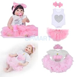 df01ec89960 2 Suit Reborn Dolls Clothes for 22-23inch Baby Girl Rompers Skirt Dress  Flower Headband Party Casual Outfit