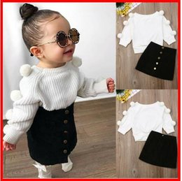 Cute Casual jumpsuits online shopping - 2019 Autumn Pompom Sweatshirts Cute Baby Girl Set Clothes Girls Jumpsuit Long Sleeve Lace Crochet Princess Party Tulle Tutu Dresses