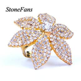 $enCountryForm.capitalKeyWord Australia - StoneFans Flower Big Rhinestone Ring for Women Full Finger Gold Color Ring Vintage Jewelry Elegant Party Resizable Rings Fashion