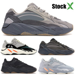 Canvas shoes blue online shopping - 700 Wave Runner New Tephra Mens Womens Designer Sneakers Inertia Static Kanye West Running Shoes Sport Shoes With Box