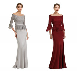 $enCountryForm.capitalKeyWord Australia - 2019 New Sliver Wine Red Off shoulder Mother of the Bride Groom Dresses with Juliet Sleeves Lace Hollow Back Cheap Evening Formal Dress