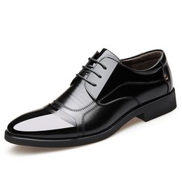 brown pointy shoes UK - Men Pointy large size cross border leisure black soft soles business dress shoes men inside increased shoes size 38-48