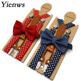 Baby Boys Bowties Australia - Baby Kids Suspenders and Bow Tie Red Navy Polka Dot Boys Suspenders Bowties Girls Tirantes Bebe 65cm 110cm YiA154