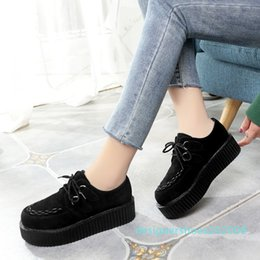 black creepers lace NZ - Creepers Women Shoes women flats Lace-up Creepers Platform Shoes Suede comfort ladies Black espadrilles female plus size d08