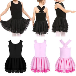 $enCountryForm.capitalKeyWord Australia - TiaoBug Kids Girls Cotton Ballet Leotard Criss-cross Strappy Ruffle Chiffon Ballet Tutu Dress Gymnastics Leotard Child Dancewear