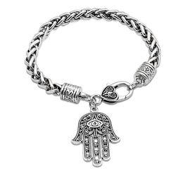 $enCountryForm.capitalKeyWord Australia - Antique Silver Chain Bracelets Hamsa Jewelry for Women Men Girls Lady Fashion Elegant Fatima Hand Evil Eye Heart Charm Bracelet Bangle Gifts