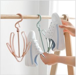clothes hanger rack stand 2019 - Plastic Shoes Drying Rack Pink Green Blue Shoes Hanging Storage Shelf Drying Rack Shoe Rack Stand Hanger Organizer Free
