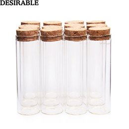 $enCountryForm.capitalKeyWord Australia - 5pcs set 50ml Clear Glass Bottles Vials Jars with Cork Stopper Sub-bottle Storage Jars test tube DIY Wedding Home Decor gifts