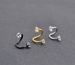 Wholesale nose s for sale - Group buy 50pcs g Nose Lip Labret Ear Snake Ring Surgical Steel Ear Diath Helix Cartilage Shine CZ Gems S Shape piercing jewelry NEW
