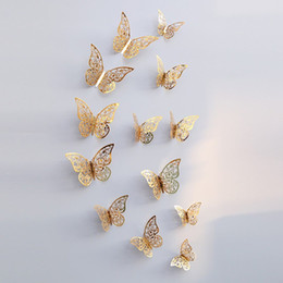 3d art paper Australia - 12pcs set 3D Butterfly Wall Stickers Hollow Removable Wallpaper Art Mural Wall Decals for Bedroom Living Room Home Decoration