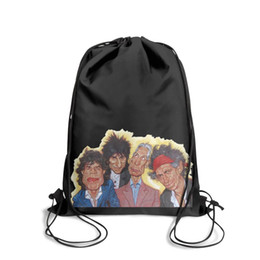 Strung Feathers Australia - Drawstring Sports Backpack paint it black song rolling stonesvintage adjustable pull string Travel Fabric Backpack