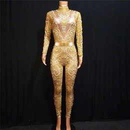 pole dance party Canada - X24 Sexy gold Rhinestone bodysuit pearl jumpsuit printed diamonds outfits pole dance costume dj dress perform wears clothe club clothe party