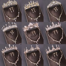 crystal necklace tiara earrings Canada - Fashion Bridal Jewelry Sets Wedding Crown Necklace With Earrings Pearl Crystal Tiara And Crowns Hair Ornaments Women Accessories