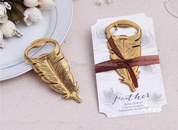 "$enCountryForm.capitalKeyWord NZ - ""Gilded Gold"" Feather Bottle Opener Vintage Metal Beer Souvenir For Birthday Parties Wedding Favors And Gifts DHL Free Shipping"