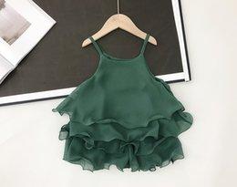Designs Girls Shirts New Australia - NEW girs Kids sets Green Color Ruffles Suspender design Shirt + Short summer girl's set causal girl kids clothing